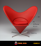 Mid-Century Modern Chair (Red)<BR>
