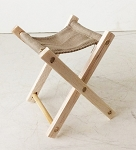Folding Wooden Stool (Khaki, Unpainted)
