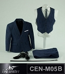 Men's Dress Suit Set (Dark Blue/Muscular Build)