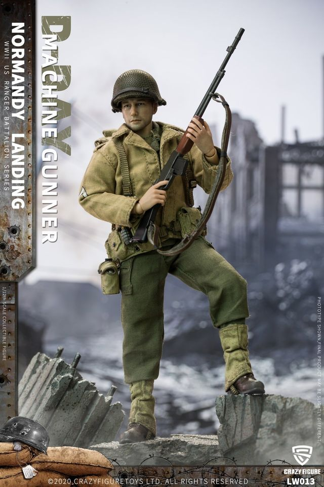 WWII US Army BAR Gunner, 2nd Rangers (1:12 Scale)<BR>PRE-ORDER: ETA Q2 2021