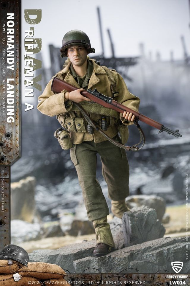 WWII US Army Rifleman, 2nd Rangers (Version A /1:12 Scale)<BR>PRE-ORDER: ETA Q2 2021