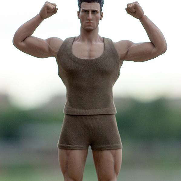 Muscle Tee & Shorts Set <br>(Olive 1:12 Scale)<BR>PRE-ORDER: ETA Q1 2020