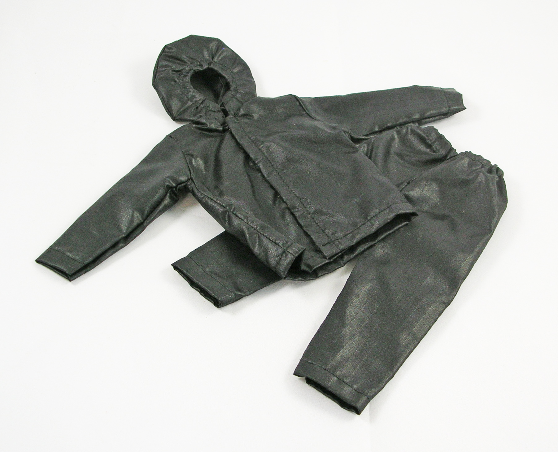 Hooded Jacket and Overpants Set (Black Ripstop Nylon)