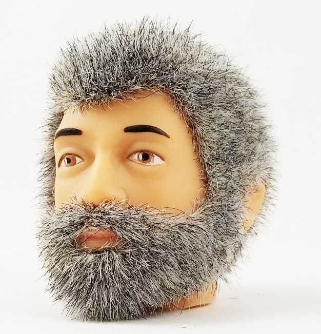 Head - Jake Grey Fuzzy with Beard<BR> (Superflock)