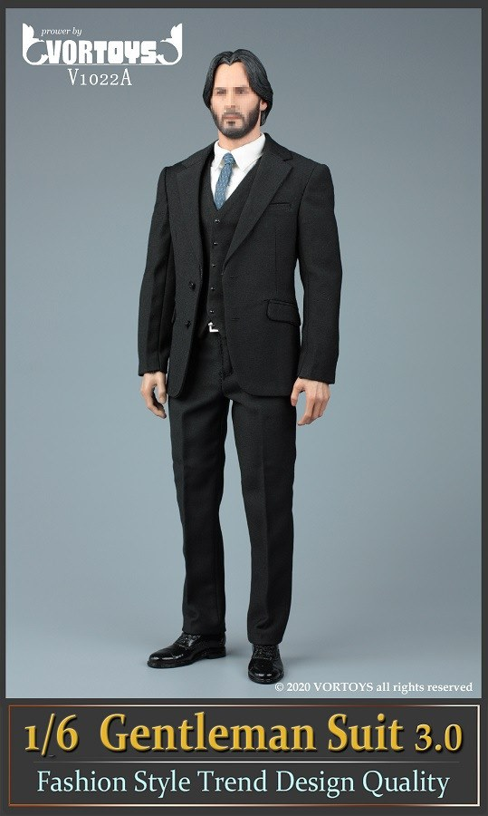 Men's Three Piece Suit (Series 3): Black<BR>PRE-ORDER: ETA Q4 2020