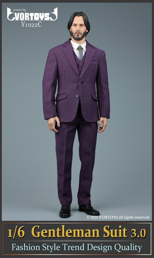 Men's Three Piece Suit (Series 3): Purple<BR>PRE-ORDER: ETA Q4 2020