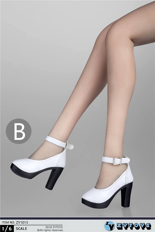ZY Toys ZY-1 1//6 Scale White High Heeled Shoes Female Clothes Model Figure
