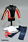 Biker Jacket Set (Orange Stripe)<BR>