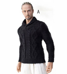 Men's High Collar Knit Sweater<BR>(Black)<BR>