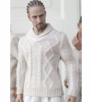 Men's High Collar Knit Sweater<BR>(Beige)<BR>