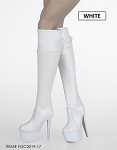 Knee High Zipper Boot (White)<BR>PRE-ORDER: ETA Q1 2020