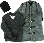 Duffle Coat Set  (Gray, Thigh Length)