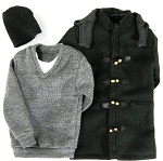 Duffle Coat Set (Black, Thigh Length)