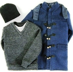 Duffle Coat Set (Blue, Thigh Length)<br><b>50% Off!!</b>