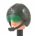 Helicopter Pilot Helmet: Green with Mic