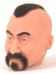 Head - Lee, Fuzzy with Brown Mohawk and Fu Manchu Moustache<BR>
