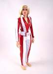 Jumpsuit with Belt: Red and White