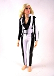 Jumpsuit with Belt: Black and White