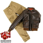 Leather Jacket (Brown - Worn Look) with Trousers