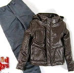 Hooded Leather Jacket Set<BR> (Brown)