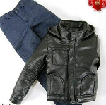 Hooded Leather Jacket Set <BR>(Black)