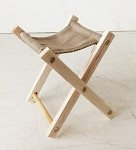 Folding Wooden Stool (Khaki, Unpainted)<BR>BACK ORDER