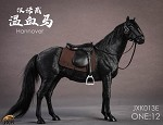 Horse with Saddle Set<BR> (Black / 1:12 Scale)