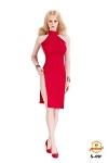 Split Skirt Dress Set (Red)