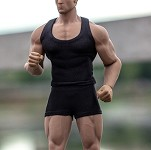 Muscle Tee & Shorts Set <br>(Black  1:12 Scale)<BR>PRE-ORDER: ETA Q1 2020