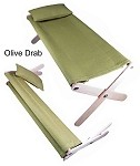 Folding Cot and Pillow (Olive Drab)