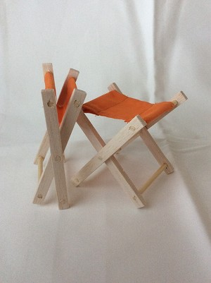 Folding Wooden Stool (Orange)