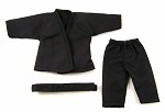 Short Sleeve/Leg Karate Outfit Set (Black)
