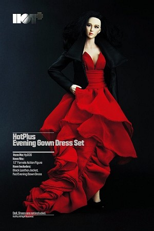 Red Evening Gown Dress with Black Leather Jacket<BR>