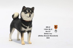 Shiba Inu Dog (Black) with Two Head Sculpts