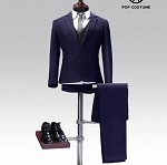 Western Style Dress Suit Set  (Navy Blue)