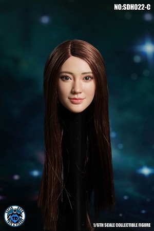 Megan Female Head Sculpt (Brunette Straight Hair)<BR>PRE-ORDER: ETA Q4 2020