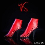 Studded High Heel Boots - Red