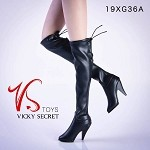 Knee Length High Heel Boots - Black