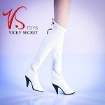 Knee Length High Heel Boots - White