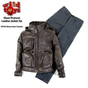 Hooded Leather Jacket Set<BR> (Brown - Worn Look)
