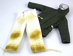 German Luftwaffe Quilted Parka (green) and Pants (white, stained)<BR>