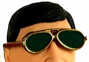 Sun Glasses: Aviator: Gold w/Green Lenses