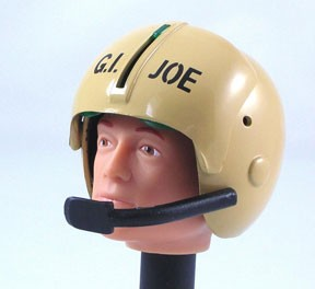 Helicopter Pilot Helmet: Tan with Mic and GI Joe Stencil