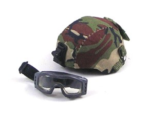 MICH Helmet with Woodland Camo Cover & Dust Goggles