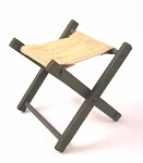 Folding Wooden Stool (OD Green, Painted)