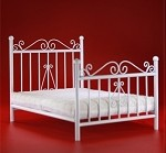 Metal Bedframe with Mattress - White