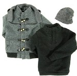 Duffle Coat Set (Gray, Hip Length)