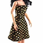 Strapless Dress (Black & Shiny Gold Metallic)