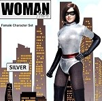 Woman Hero Outfit & Head Sculpt Set (Silver)