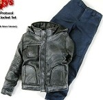 Hooded Leather Jacket Set<BR> (Black - Worn Look)